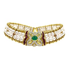 18 Karat Victorian Inspired Pearl, Diamond, Ruby and Emerald Choker Necklace