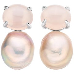 Rose Quartz and Pink Pearl Baroque Earrings in 18 Karat White Gold