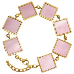 14 Karat Rose Gold Contemporary Bracelet with Big Rose Quartzes