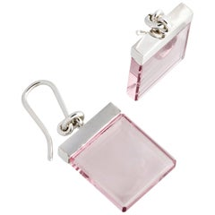 Contemporary Earrings by Artist with Rose Quartz