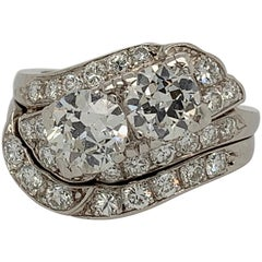 Retro Platinum 1.85 Carat Round Brilliant Natural Diamond Ring & Band Circa 1950