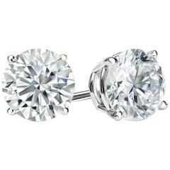 3.00 Carat Princess Brilliant Cut Diamond Stud Earrings 18 Karat Gold Setting