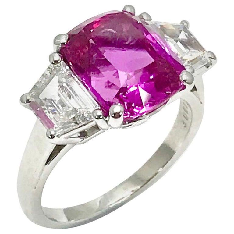 Oscar Heyman 6.32ct Cushion Pink Sapphire and Trapezoid Diamond Platinum Ring For Sale