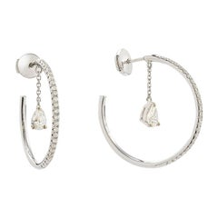 Yvonne Leon's Earring Dangle Hoop in 18 Karat White Gold with Diamonds