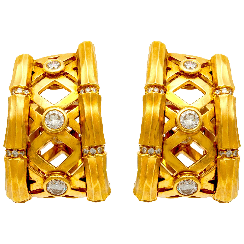 Cartier Diamond Yellow Gold Clip-On Earrings