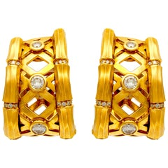 Cartier Gold Bamboo Earrings with Diamonds