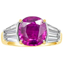 AGL Certified No Heat Purple Pink Sapphire Three-Stone Engagement Ring