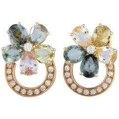 Bulgari Flora Diamond and Multi-Color Sapphire Yellow Gold Flower Earrings