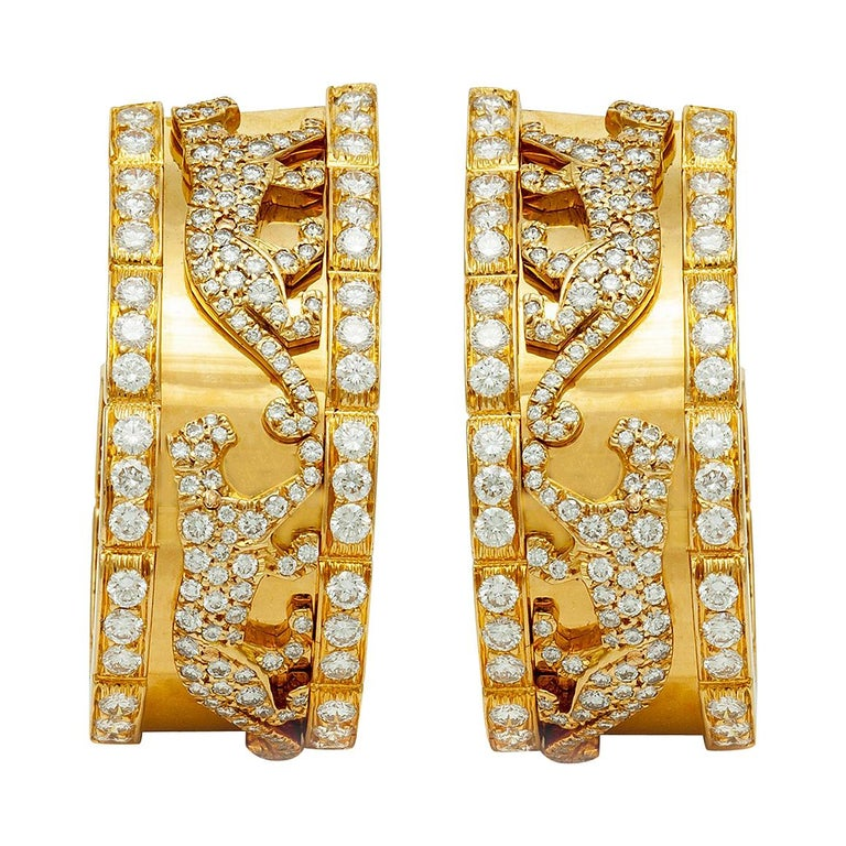 Cartier Diamond Panther Earrings For Sale