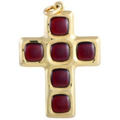 Pomellato Garnet Yellow Gold Cross Pendant