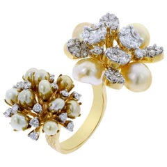 Pearl Clusters Open Ring with Mixed Cut Diamonds, 18 Karat Gold