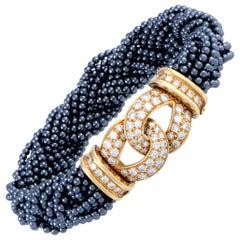 Van Cleef & Arpels Vintage Diamond and Black Pearl Yellow Gold Bracelet