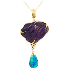 Sugilite Opal Diamond Yellow Gold Sterling Silver Pendant