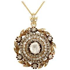 Antique Victorian 2.95 Carat Diamond and Yellow Gold Pendant