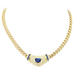 3.37 Carat Heart Shaped Sapphire Diamond Yellow Gold Necklace