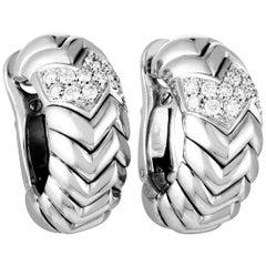 Bulgari Spiga Diamond Pave White Gold Omega Back Earrings