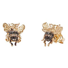 Mini Bee Gold Earring with Black and Cognac Diamonds