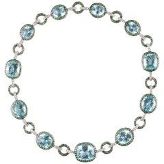 90.85 Carat Blue Topaz 9.00 Carat Tsavorite 2.25 Carat Diamond Necklace
