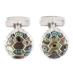 Jona Mother of Pearl Sterling Silver Turtle Cufflinks