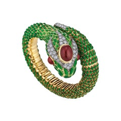 David Webb Certified Vintage Diamond Ruby Gold Enamel Serpent Cuff Bracelet