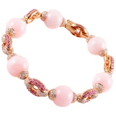 58.52 Carat Pink Opal 2.14 Carat Pink Sapphire 3.55 Carats Diamond Bracelet