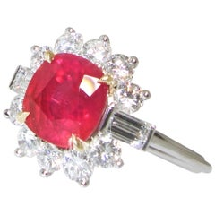A.G.L. Certified Burma Ruby and Diamond Ring