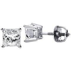 4.00 Carat Princess Brilliant Cut Diamond Stud Earrings 18k White Gold Setting