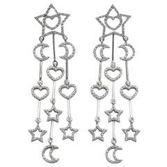 18 Karat White Gold Diamond Star Moon Heart Earrings