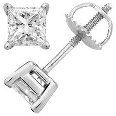 5.00 Carat Princess Brilliant Cut Diamond Stud Earrings 18 Karat Gold Setting