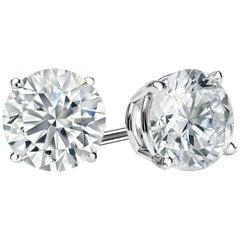 6.00 Carat Princess Brilliant Cut Diamond Stud Earrings 18 Karat Gold Setting