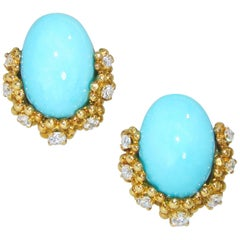 Tiffany Turquoise and Diamond Earrings