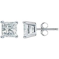 7.00 Carat Princess Brilliant Cut Diamond Stud Earrings 18 Karat Gold Setting