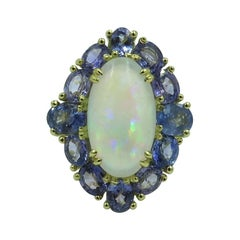 Jelly Opal, Sapphire and Gold Ring