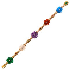 Art Nouveau Diamond Ruby Sapphire Emerald Amethyst Yellow Gold Flowers Bracelet