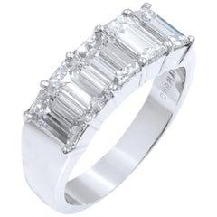 Five-Stone Diamond Anniversary Ring 2.57 Carat Platinum