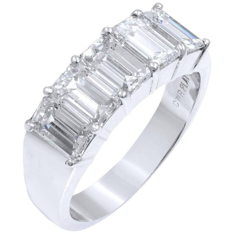 Five-Stone Diamond Anniversary Ring 2.57 Carat Platinum For Sale