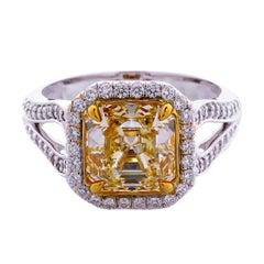 GIA Certified 3.00 Carat Asscher Cut Natural Fancy Yellow VVS2 18K Gold Ring