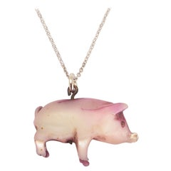 """Antique Victorian Mother of Pearl """"Lucky Pig"""" Charm Pendant"""