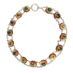 Antique Victorian Cat's Eye Operculum Riviere Neckalce