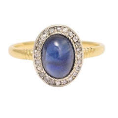 Late Victorian Cabochon Sapphire and Diamond Ring
