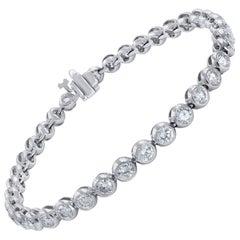 14 Karat White Gold Bezel Set Diamond Bracelet 5.50 Carat