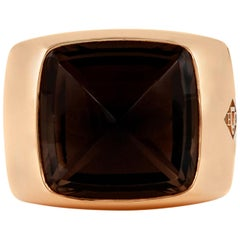 Hermes Emile Gold Ring with Smoky Quartz