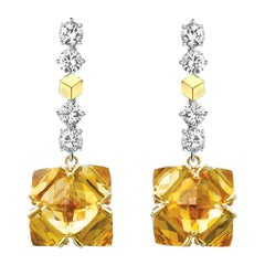 Paolo Costagli 18 Karat Gold White Sapphire and Citrine Earrings
