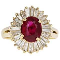 18 Karat Yellow Gold 1.43 Carat Ruby with Tapered Baguette Diamond Ring