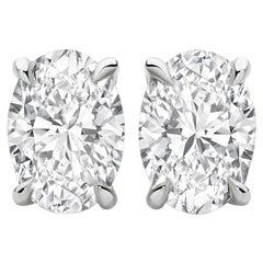 1 Carat Oval Brilliant Cut Diamond Stud Earrings 18 Karat White Gold Setting