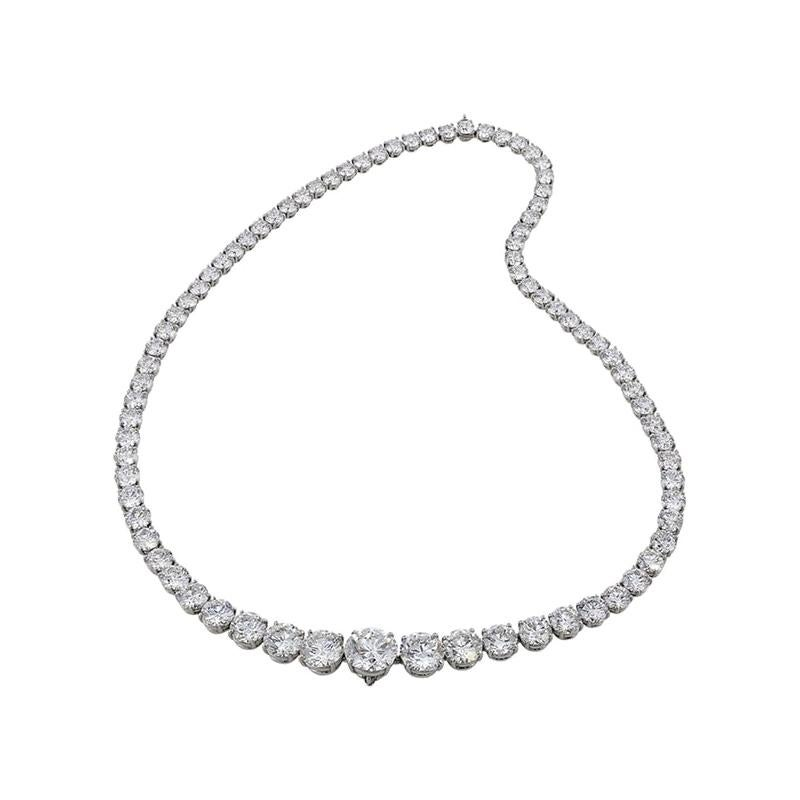9.03 Carat Total Diamond Riviera Necklace in 18 Karat White Gold