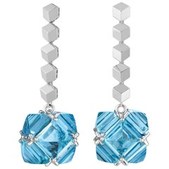 Paolo Costagli 18 Karat White Gold 36.00 Carat Blue Topaz Earrings