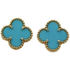 Van Cleef & Arpels Alhambra Earstuds Yellow Gold Turquoise