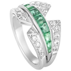 Van Cleef & Arpels Vintage Diamond and Emerald Platinum Band Ring
