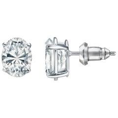 1.50 Carat Oval Brilliant Cut Diamond Stud Earrings 18 Karat White Gold Setting